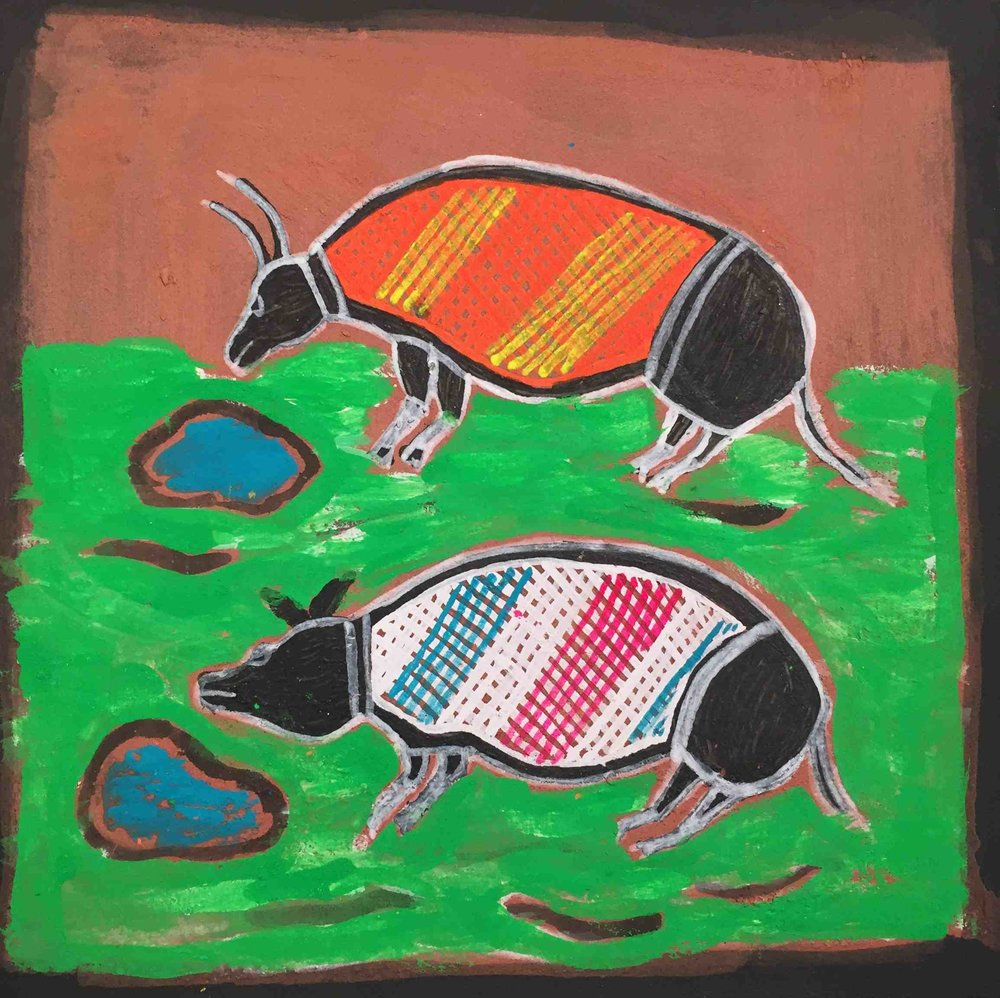 Ivan Narmatnyilk 2015 feral Buffalo and pig on floodplain Ochre, pigmnet , acrylic on Rever paper 24 x 24 cm
