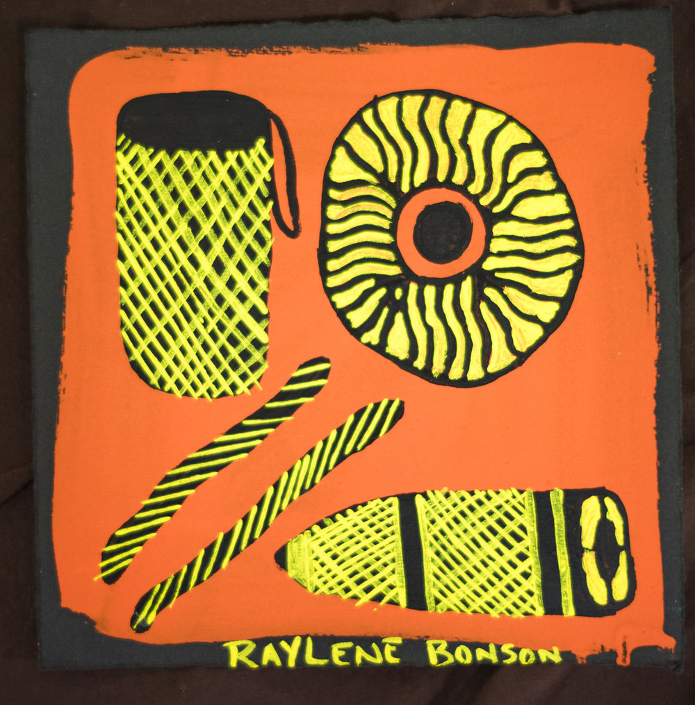 Raylene Bonson. Fishing gear 2015 Ochre, pigment and acrylic on Revere paper 24 x 24 cm