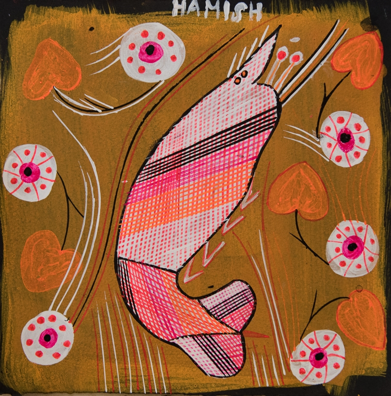Hamish Garrgarrku Yabbie Dreaming 2015, Ochre, fluoro pigments, acrylic on black paper 28 x 28 cm  Hamish, like many Bininj artists, loves bright colours. He not only has dreadlocks, but with great ease he uses a traditional spear-grass bush brush to Rarrk his yabbie and yam lily Dreamings. His paintings are visual testimony, and they are supported with oral recordings, where he talks about his traditional hunting waterholes and creeks being muddied and destroyed by feral pigs and buffalos.