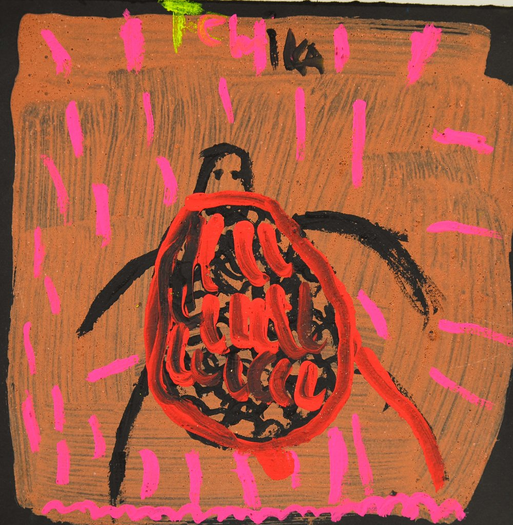 Temika Namudaj Catchin Turtle 2015, Ochre, fluoro pigment, acrylic, black paper 28 x 28 cm  The children, just back with their parents from an afternoon hunting turtle on the Liverpool floodplain, wanted to paint the story of the day. They captured the great excitement of burning the grasses around the waterhole to reveal turtle aestivation breathing holes. Laughing family groups move between the smoke and trees surrounding the waterhole, poking long sticks down until the thud of turtle is felt in the mud below. In Temika's painting the smoke rises around the turtle as it is taken to a nearby fire for immediate cooking.