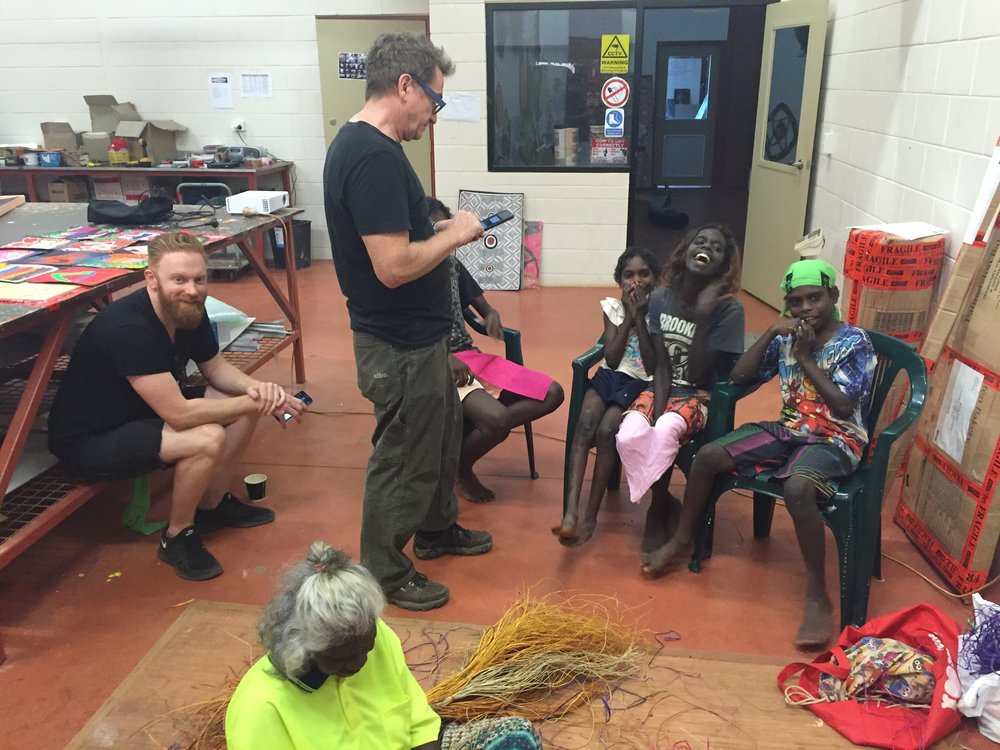 Alexander Boynes, David Leece record Maningrida school song. Photo Mandy Martin.JPG