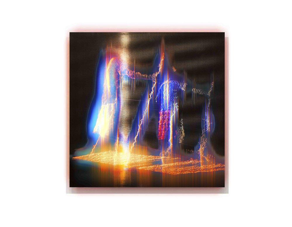 Alexander Boynes 2016 - Djanggawul Sisters Story - 48cm x 48cm, Pigment & Enamel on Acrylic and Aluminium