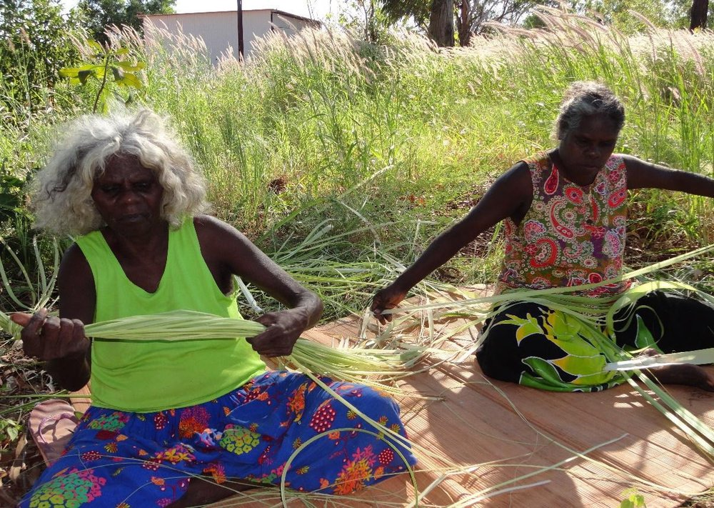 Maisie Mirinwarnga and Vera Cameron stripping pandanus for mat commission..jpeg