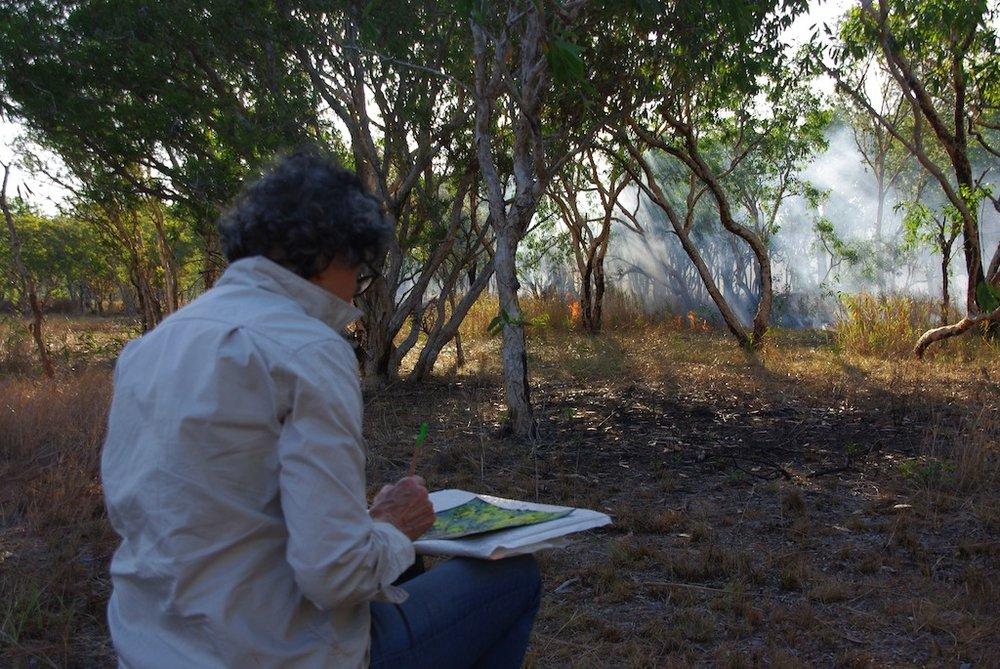 Mandy Martin drawing cool burn on floodplain. Photo Billy Griffiths.jpg