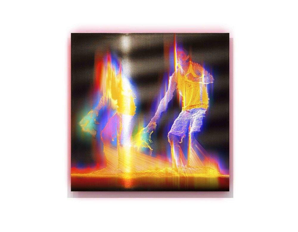 Alexander Boynes 2016 - Woomera Story - 48cm x 48cm, Pigment & Enamel on Acrylic and Aluminium