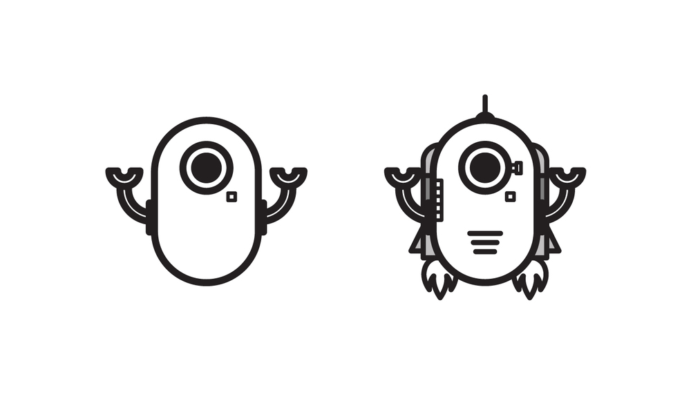 This is the robot character created for the product design team.