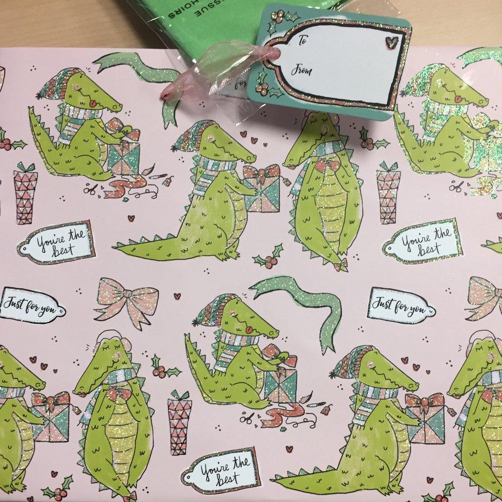 Alligators Christmas Gift Bag : Punch Studio