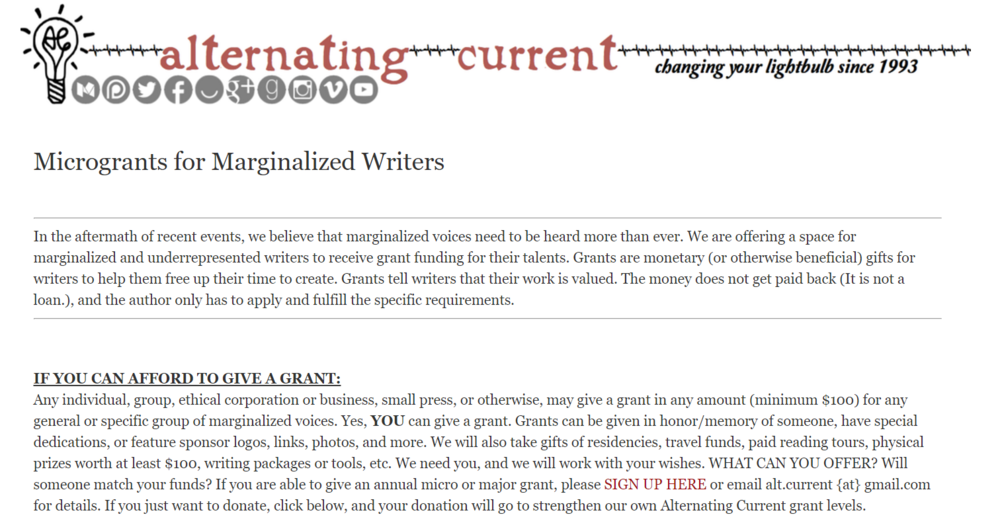 This website shares a wealth of micro-grants for marginalized and underrepresented writers to receive funding for their talent.