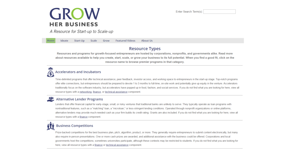 A selection of business resources for female entrepreneurs.