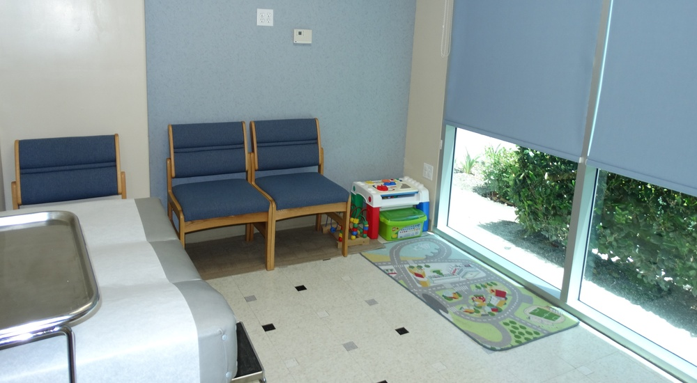 We have exam rooms outfitted for children.
