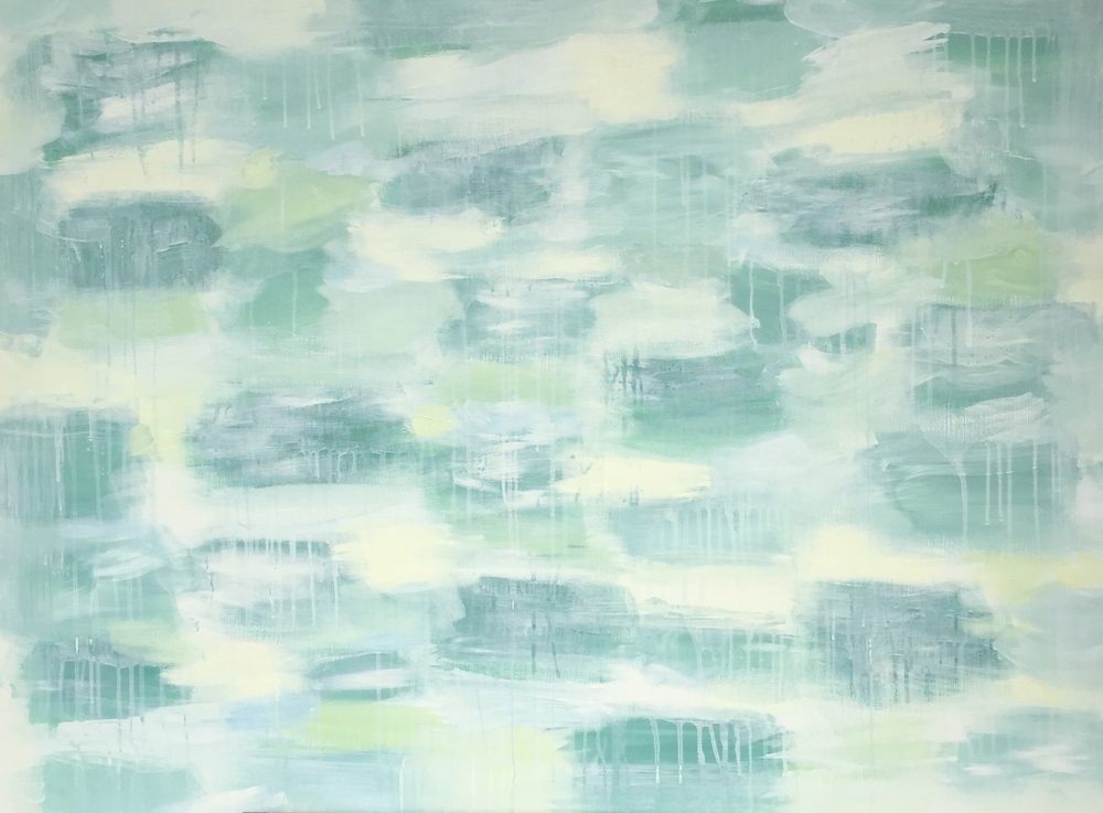 Lily Pond, 40x30, acrylic on stretched canvas, green painted edges.  Sold.
