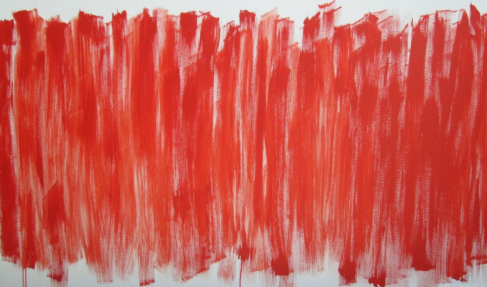 Reds with Gold Edge , 72x30, acrylic on canvas, unframed, $800.