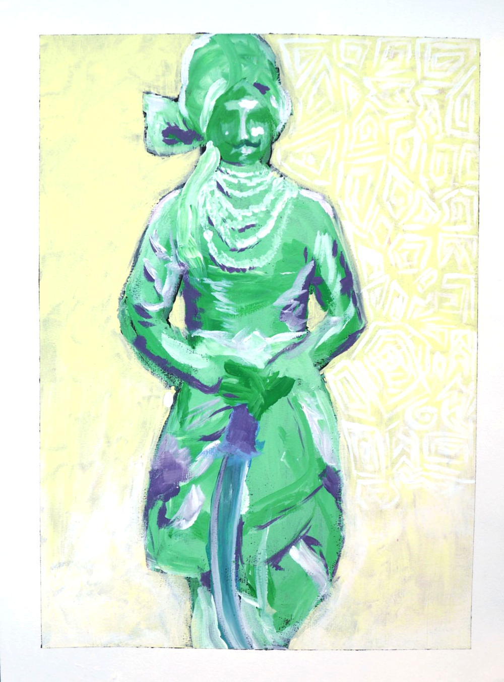 Green Maharaja,  24x18, acrylic on paper, $150