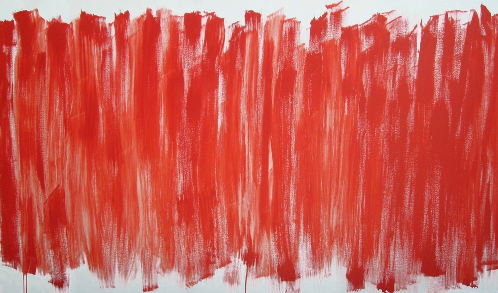 Reds, 72x30, acrylic on stretched canvas, gold painted edges, $800.