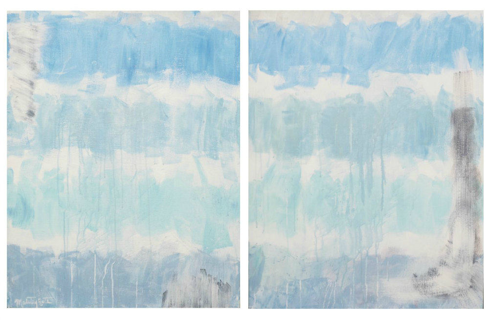Blue Diptych , Acrylic on Canvas, YYxZZ, $500.
