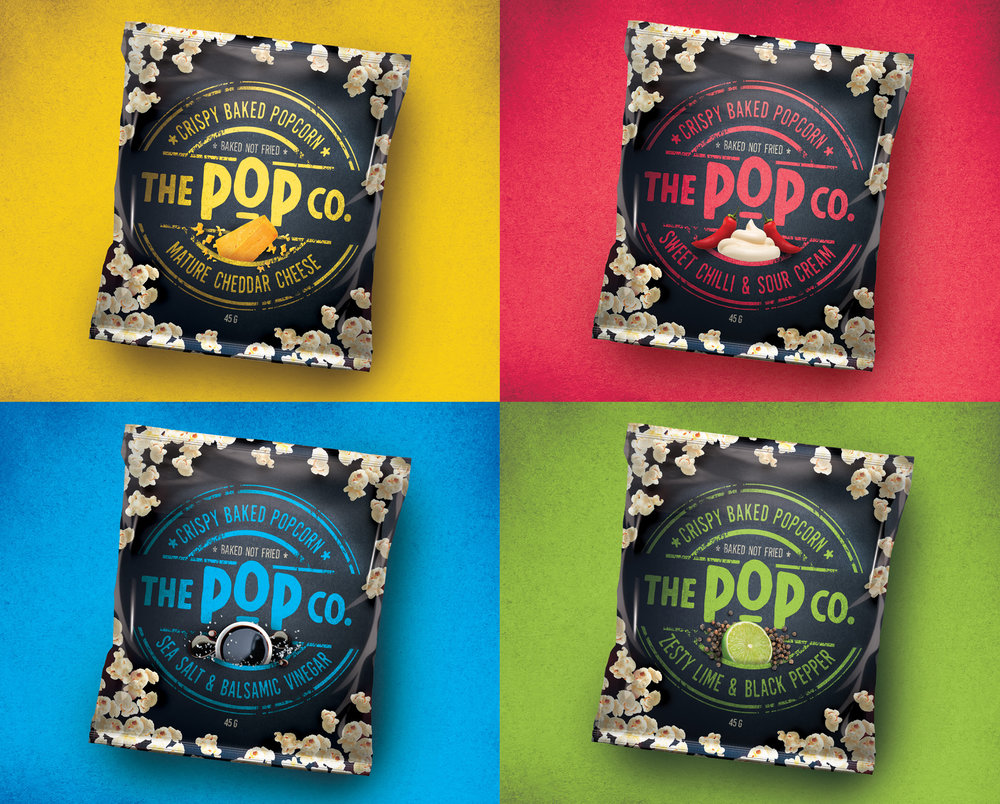 Popcorn snacking branding and packaging design by Our Revolution