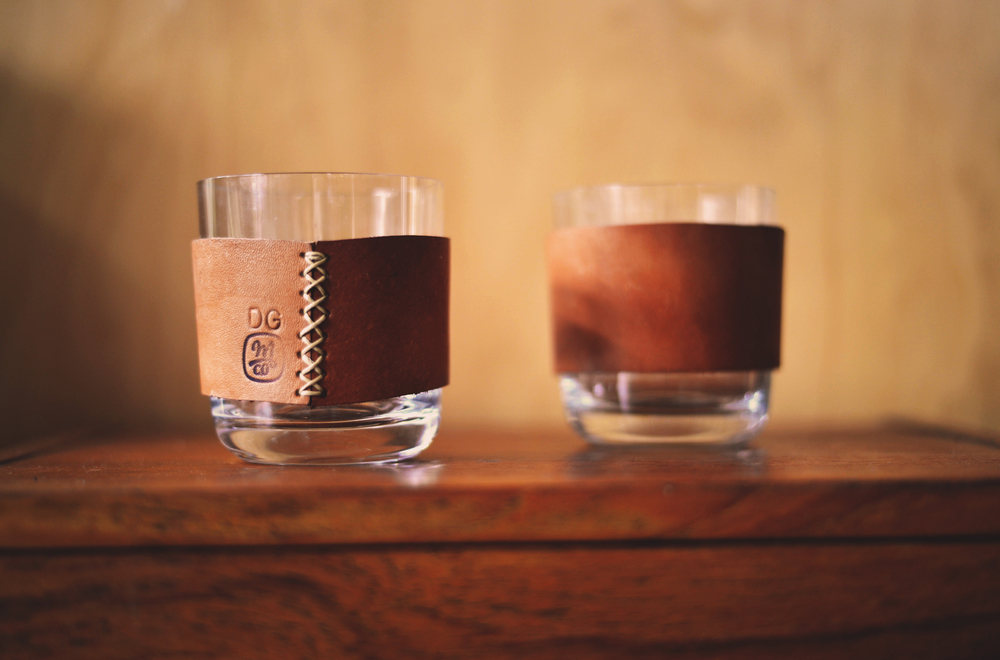 Whiskey Glass with Leather Cuff ~ $25