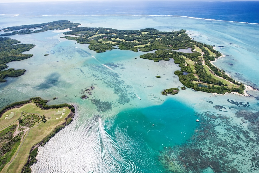 Aerial view of the Ile aux Cerfs Leisure Island