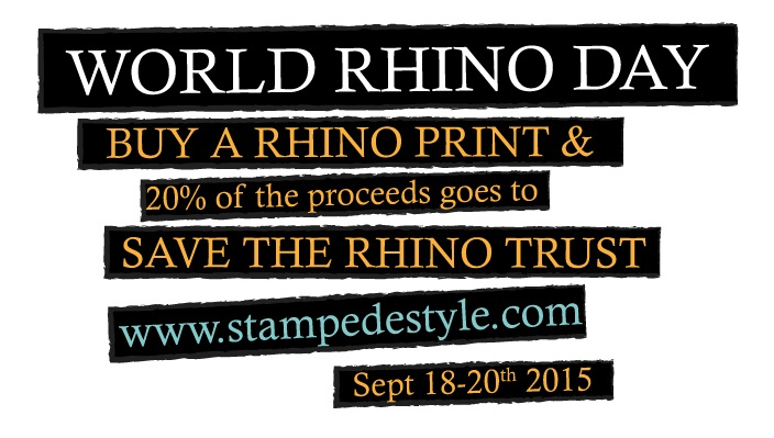 In support of World Rhino Day we will be donating 20% of the proceeds of all rhino prints sold from the 18th to the 20th of September to the Save the Rhino Trust.  So if you love our Rhinos or are passionate about saving these noble creatures, purchase one of our rhino wild beauties in the coming days.