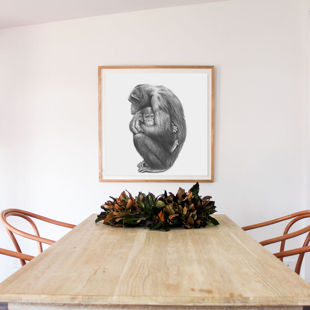 Andrew Howells has released this incredible artwork of which captures a special moment between this Mother and her baby.  Coco and Mim are available in 70cm x 100cm PLUS our very new square size 75x75cm in two compositions, that above plus a striking cropped addition.  This beautiful print is featured here in our favourite frame - Tassie Oak with the print floating over the mount. Coco and Mim will look amazing in any room - great work Andrew!