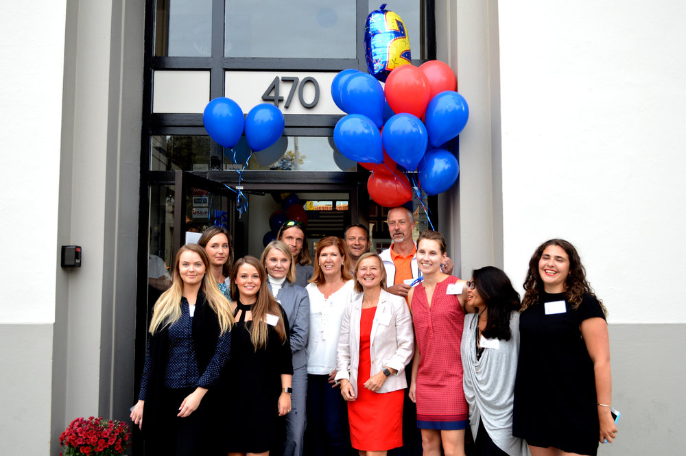 Our wonderful team gathered outside Nordic Innovation House headquarters at 470 Ramona