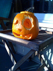 The last jack-o-lantern Josh carved. The squirrels nibbled away at its eye.