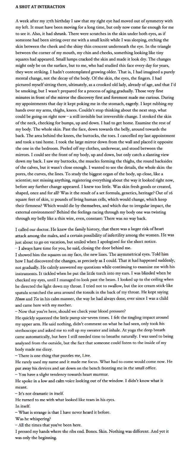 The first two pages of the short story  A Shot At Interaction  ( Vi forsøker oss på samhandling ) from  Grown-Up Things  ( Voksenting ), 2010 (writer's translation). For foreign rights, please see Aschehoug Agency.