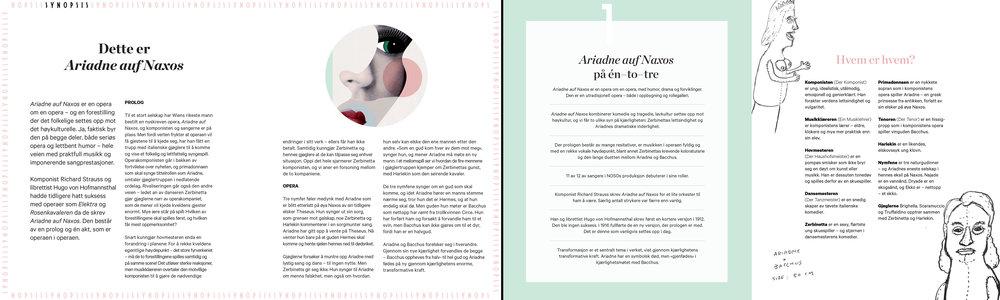 Utdrag fra  Ariadne auf Naxos -programmet på 32 sider. Illustrasjoner: Wakka Wakka, design: Tank