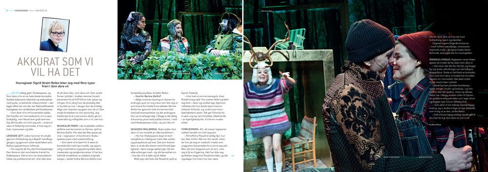 Intervju med Sigrid Strøm Reibo, regissør av  Som dere vil.  Faksimile fra programmet. Design: Sigurd Østensen. Foto: Marte Garmann