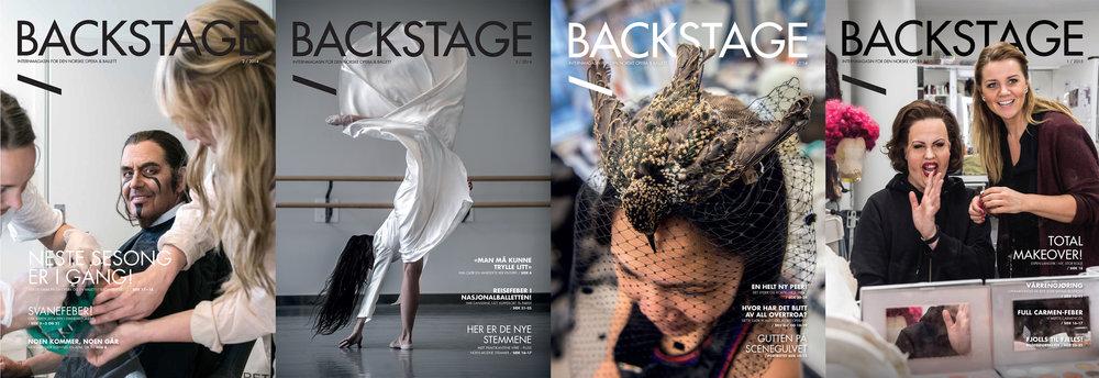 Et utvalg covere for utgaver av Backstage-utgaver mine år som redaktør (fra venstre: 2/2014, 3/2014, 4/2014 og 1/2015).