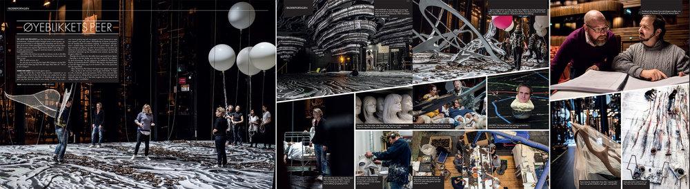 Faksimile av bildereportasje fra produksjonen av Nasjonaloperaens  Peer Gynt  (over fem sider). Foto: Erik Berg