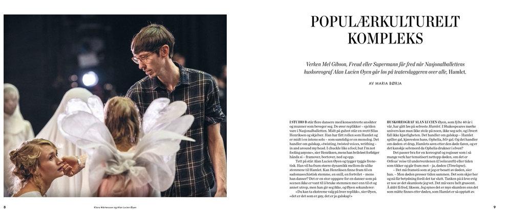 Første side av et lengre intervju om storsatsningen  The Hamlet Complex  med koreograf og manusforfatter Alan Lucien Øyen. Faksimile fra forestillingsprogrammet