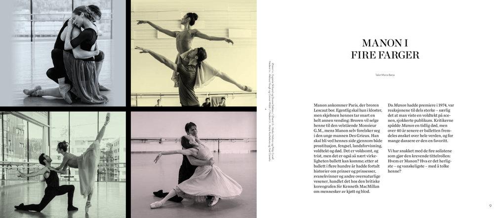 De første av ti sider med intervjuer med solistene i  Manon . Faksimile fra forestillingsprogrammet