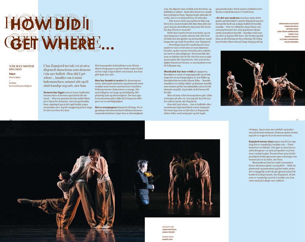 Intervju med Cina Espejord om hennes nye ballett  How did I get where …  Faksimile fra forestillingsprogrammet, design: Live Molvær, foto: Erik Berg