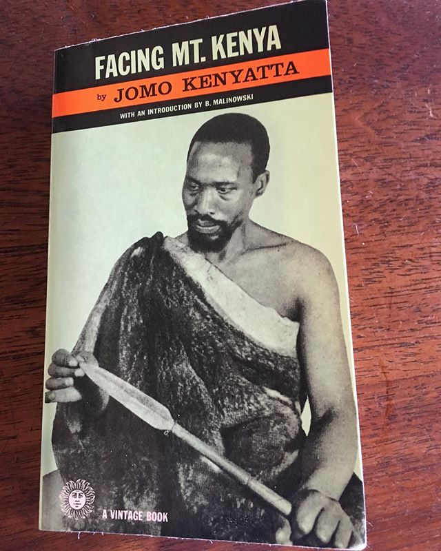 "If you know me, you know that I'm shamelessly inquisitive/nosey (I ask questions/listen for a living, to be fair). I've been drilling the locals about Kenyan politics at every opportunity I get. This book was written by the very first president of Kenya, a super revered man (the current prez is his grandson and not nearly as loved/respected...I guess that's how nepotism works sometimes.) Jomo is the grandson of a Kikuyu medicine man — Kikuyu is one of the largest tribes in Kenya. He is among the most influential leaders of African nationalism, having led the Republic of Kenya after its independence from the Brits. In the 1930's, Jomo studied at the London School of Economics. His professor/mentor Bronislav Malinowski helped him to write this epic book. ""Facing Mount Kenya"" is a central document in anthropological literature and has served as a global resource in regard to the structure of the African tribal system. With focuses on life, death, work, play, sex, family and more, this account of the Kikuyu tribe is comprehensive, intimate, precise and compassionate."