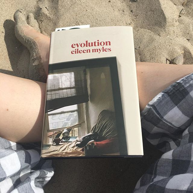 "It's been a while. Gonna try to get back on the bandwagon. Read this on a deliciously gray beach day. @eileen.myles is speaking at @greenlightbklyn next Wednesday. Buy ""evolution"" today, read it this weekend and come see her next week :)"