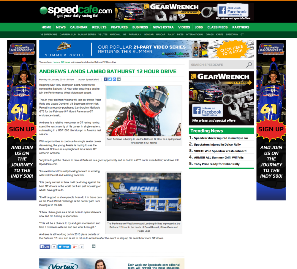 Scott featured in Speedcafe online as his 2016 Bathurst 12 Hour news was announced