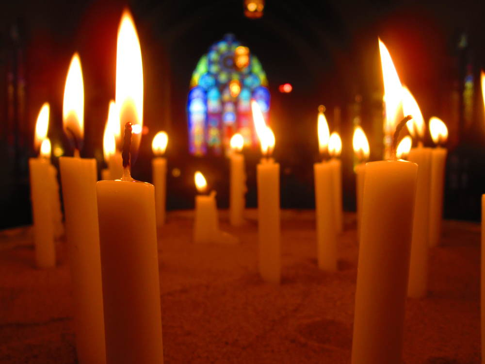 Candles lit for All Saints Day at LaSalle Street Church, Chicago. Photo by Mary Rodriguez