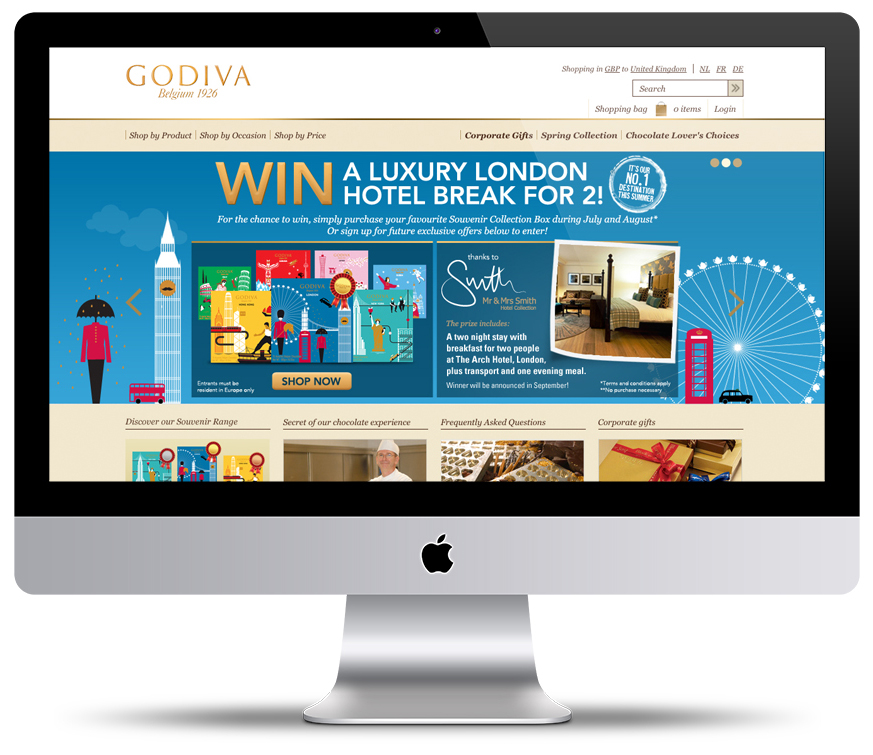 Digital marketing campaign to accelerate sales of Godiva's fantastic Souvenir Range (designed by students from Belguim Art College, Le Chambre. Standout partnered the luxury chocolate brand with Mr & Mrs Smith for the prize draw based activity.