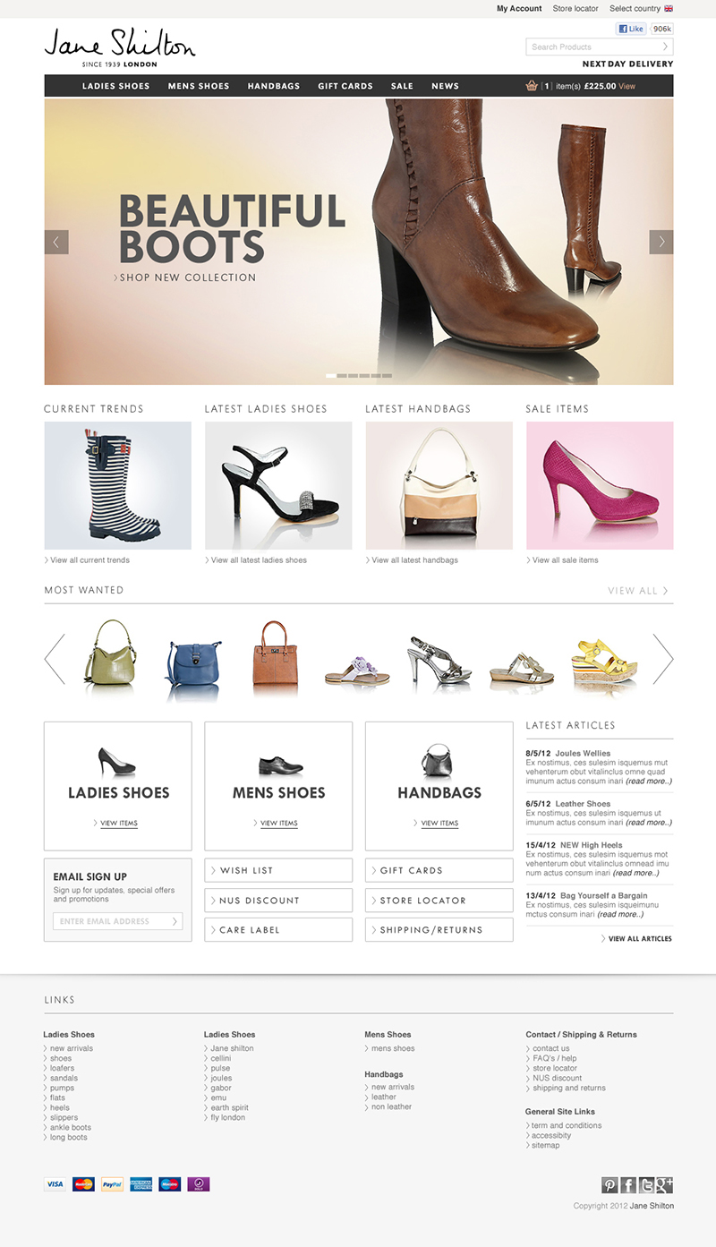 A clean and contemporarily designed Magento Ecommerce store for Jane Shilton.
