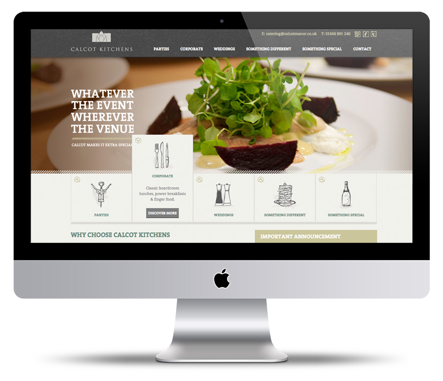Calcot Hotel & Leisure Group's catering arm - responsive image led website by Standout.