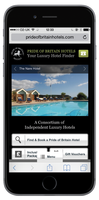Pride of Britain Hotels - Mobile specific website before the rapid advancement of responsive design.