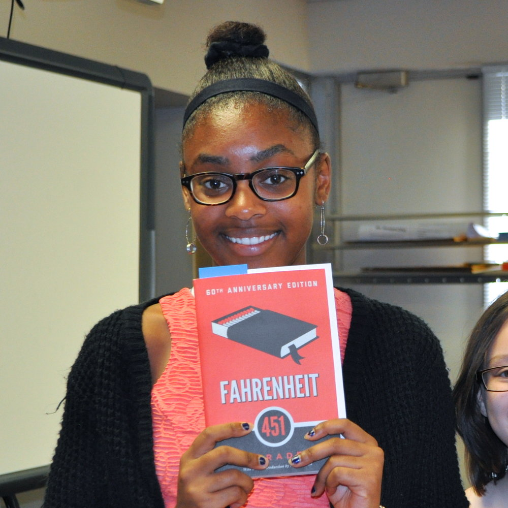 "Danielle Washington, 10th grade What is one of your favorite quotes, events, or moments from ""Fahrenheit 451?"": My favorite event was when Guy met Faber and they talked about how important books are.  What is something you learned about yourself since participating in the Big Read?: I learned that I needed to be inspired to read and now realized how fun it is to read. I didn't know how interesting books can be. I gained the love for books and knowledge."