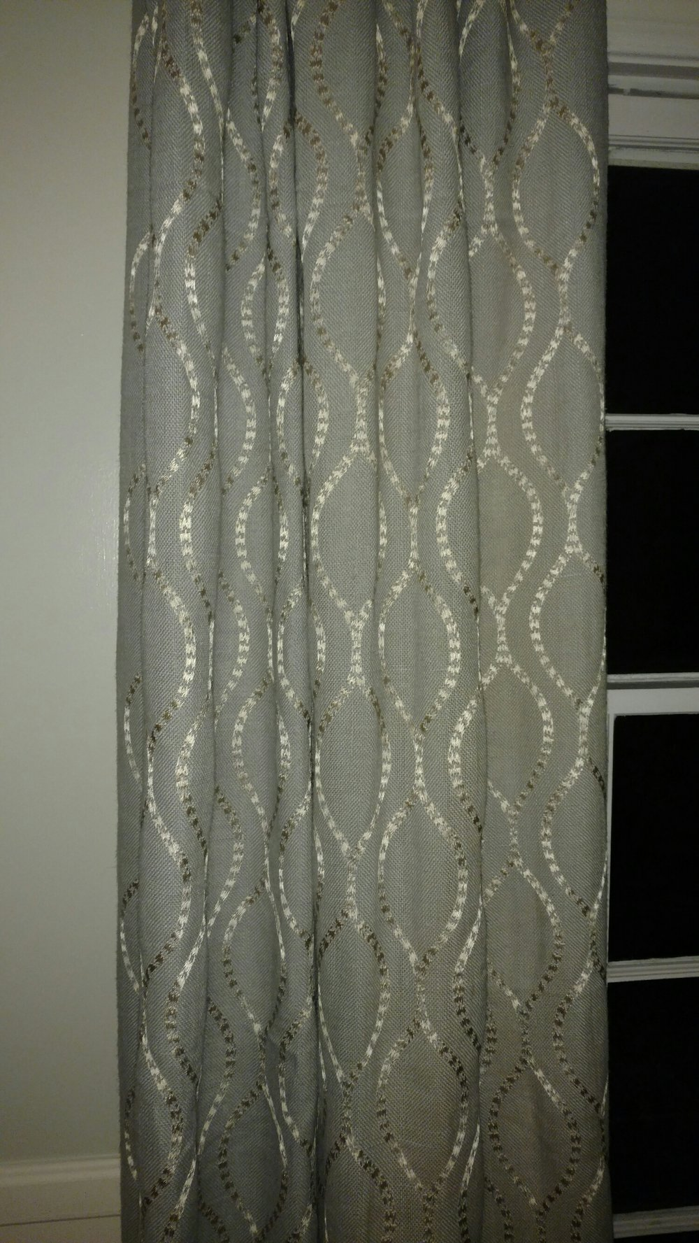 drapes in lightest blue with pewter embroidery