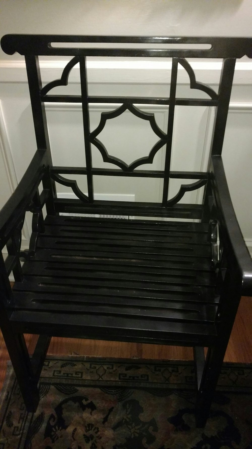 a Wonderful black Chinese Chippendale chair