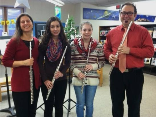 Elm City Music Flute Ensemble at the Keene Public Library on our 2013 Holiday Tour.