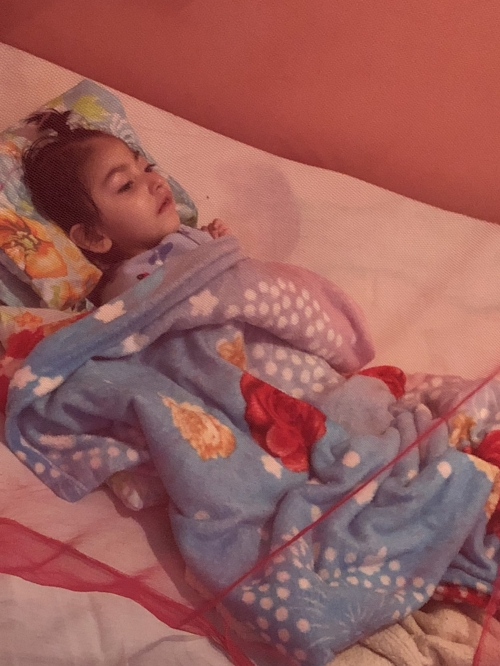 A 6 year old girl that would be on a feeding tube to survive in this country, but is instead laying in bed all day, every day, with a mosquito net and lots of prayer.
