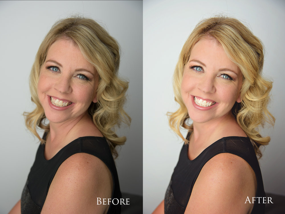 Light skin touch up and smoothing, brightening teeth and eyes and clean edits to brighten the image. All done to compliment the subject without taking away her natural beauty!