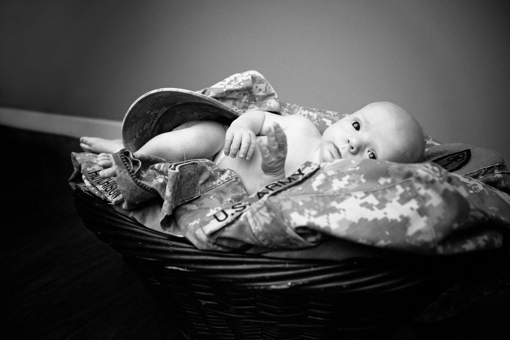 Baby in basket with Army Uniform black and white 2018 Thanksgiving Remember When Portraits
