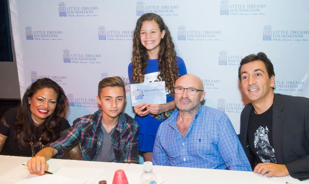 Orianne, Nic, and Phil Collins and David Frangioni with Little Dreamer Angelina Green